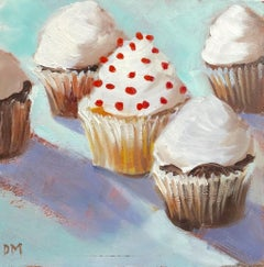 """""""Center of Attention"""" 5 Cupcakes with White Frosting and Red Sprinkles Pale Blue"""