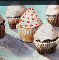 """Center of Attention"" 5 Cupcakes with White Frosting and Red Sprinkles Pale Blue"