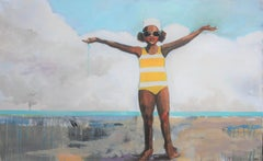 """""""Home Again"""" oil painting of a girl in yellow striped swimsuit with arms raided"""