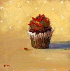 """Hot to Trot""   Small Still Life, Chocolate Cupcake/White Frosting/Red Sprinkles"