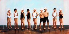 """""""Lined Up"""" oil painting of boys and girls in black and white swimsuits, caps"""