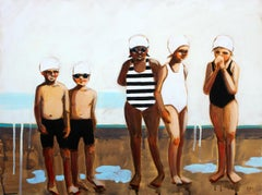 """""""Morning Dew"""" Oil painting of boys and girls in black and white swimsuits, caps"""