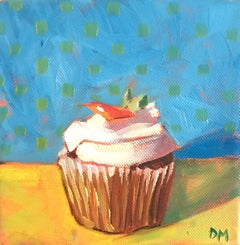 """""""Small Cupcake with White Frosting and Cherry on Blue and Yellow Background"""""""