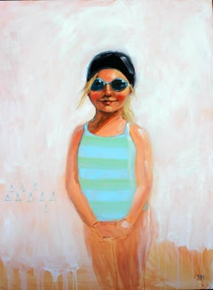 """""""Summer Blue"""" Oil painting of a girl in a blue swimsuit with black cap and pink"""