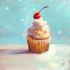 """""""Sweetie""""  Small still life painting, cupcake, white frosting ,cherry, on blue"""