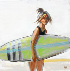 """""""Swim #15"""" Girl with Green Surfboard in Painterly Style with White Background"""