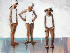 """Swim Day"" Three Girls in White Bathing Suits"