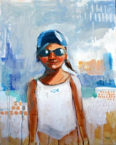 """Swim All Day"" oil painting of a girl in a white swimsuit on blue background"