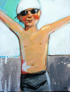 """Swim"" oil painting of a boy in black shorts with goggles and white swim cap."