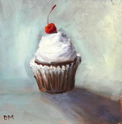 """Treat Yourself""  Small still life painting, cupcake, white frosting, red cherry"