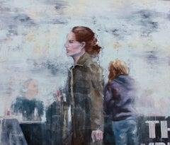City Sidewalk Cafe, Painting, Oil on Wood Panel