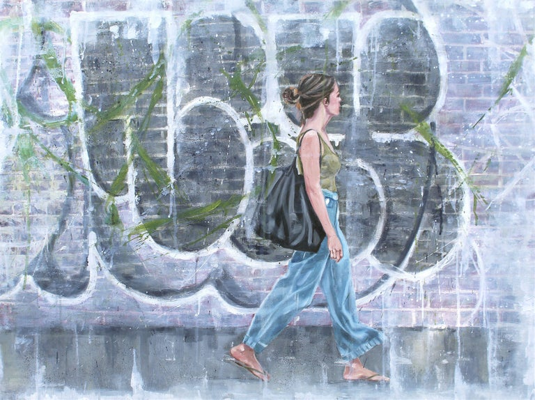 I have always been fascinated by graffiti and street art. As I was admiring this, a kindred spirit walked by equally as fascinated by the artist that turned a plain brick wall into a piece of art and seemed to merge with the art. The painting is on