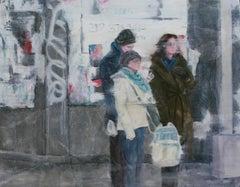 Street Huddle, Painting, Oil on Wood Panel