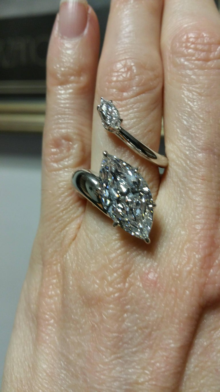Women's DeBeers Millenium GIA Certified 5 Carat Marquise Cut Diamond and Platinum Ring For Sale