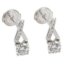 DeBeers Promise Diamond Stud Earring in 18 Karat White Gold 0.68 Carat