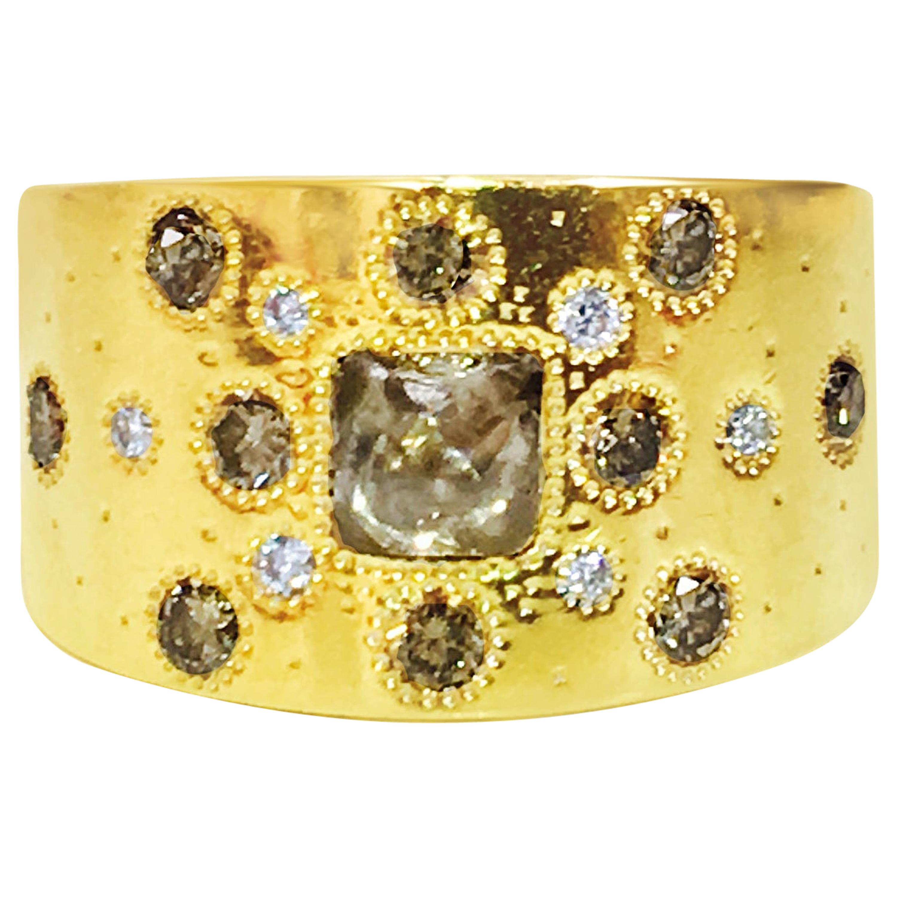DeBeers Rough Fancy Colored Diamond and Yellow Gold Ring