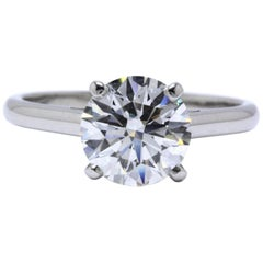 DeBeers Round Brilliant Diamond Engagement Ring 2.05 Carat H VS2 Platinum