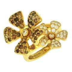 DeBeers 'Wildflower' Diamond Double Flower Ring