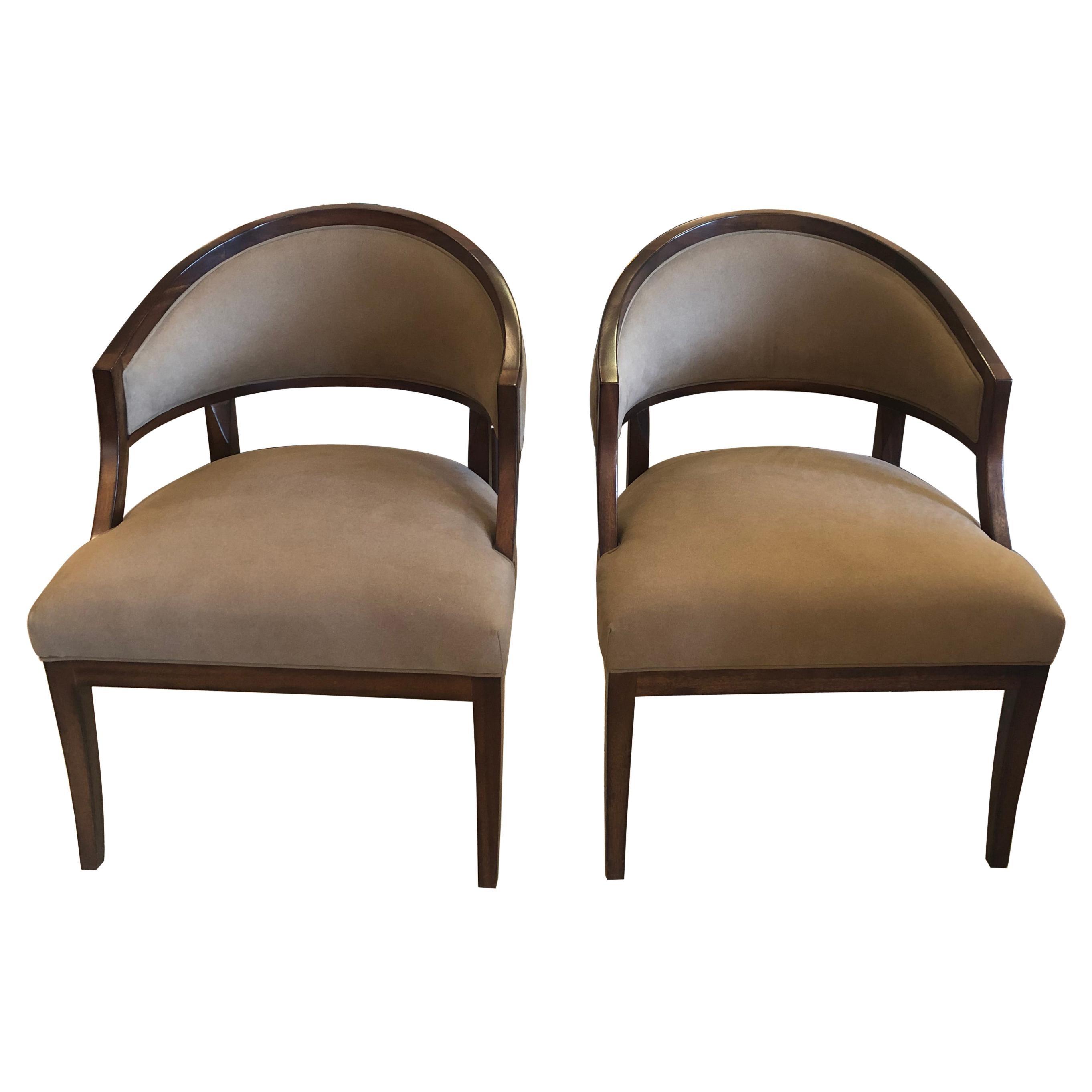 Debonair Pair of Faux Suede or Camelhair Club Chairs