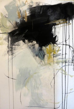 Black and White 1, Petite Vertical Botanical Abstract on Paper