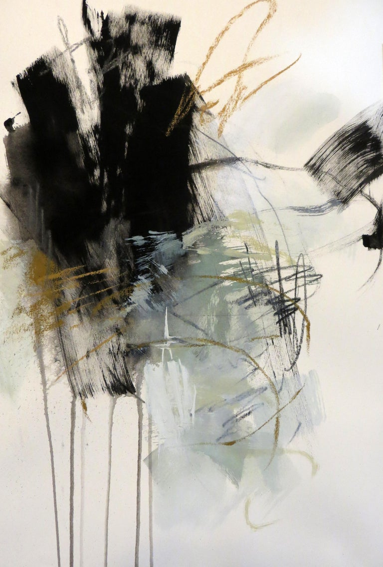 Debora Stewart Abstract Painting - Black and White 2, Petite Vertical Botanical Abstract on Paper