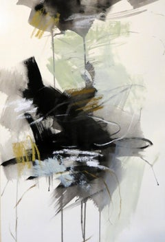 Black and White 3, Petite Vertical Botanical Abstract on Paper