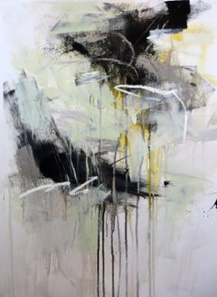 Black and White 5 by Debora Stewart, Vertical Botanical Abstract Painting