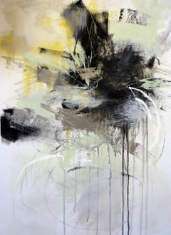 Black and White 6 by Debora Stewart, Vertical Abstract Botanical Painting