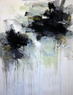 Black and White 7 by Debora Stewart, Large Vertical Abstract Painting