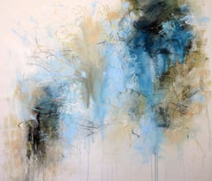 Garden Traces, Blue, Large Gestural Abstract Acrylic on Canvas Painting