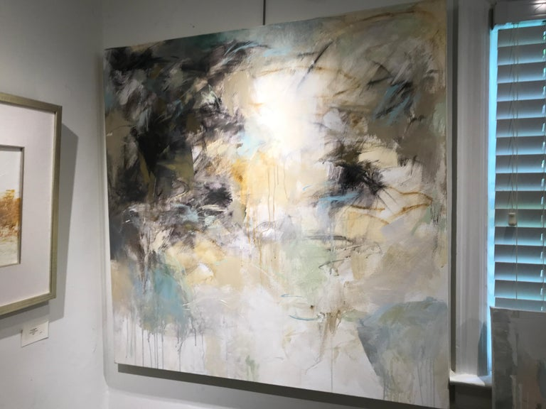 Low Tide by Debora Stewart, Large Square Mixed Media on Canvas Abstract Painting For Sale 2