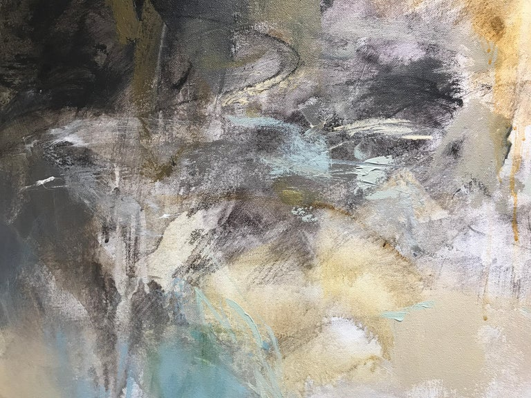 Low Tide by Debora Stewart, Large Square Mixed Media on Canvas Abstract Painting For Sale 3