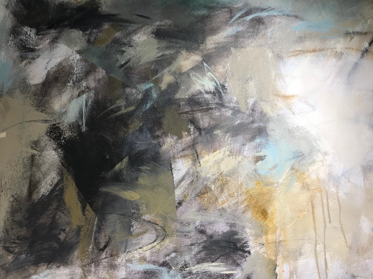 Low Tide by Debora Stewart, Large Square Mixed Media on Canvas Abstract Painting For Sale 4