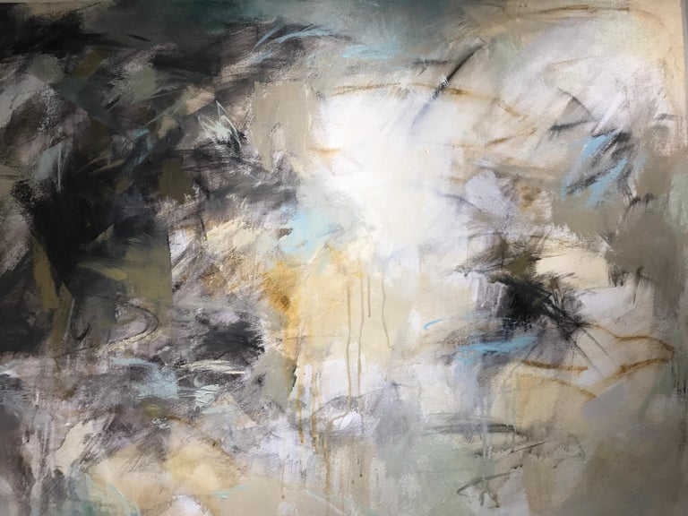 Low Tide by Debora Stewart, Large Square Mixed Media on Canvas Abstract Painting For Sale 5