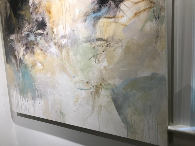 Low Tide by Debora Stewart, Large Square Mixed Media on Canvas Abstract Painting For Sale 6