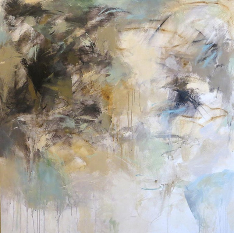 'Low Tide' is a large abstract mixed media on canvas painting of square format created by American artist Debora Stewart in 2018. Featuring a palette made of taupe, blue, green, black, white and beige tones, this unframed abstract painting, signed