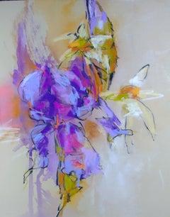 Monet's Irises II by Debora Stewart, Framed Pastel and Mixed Media Work on Paper