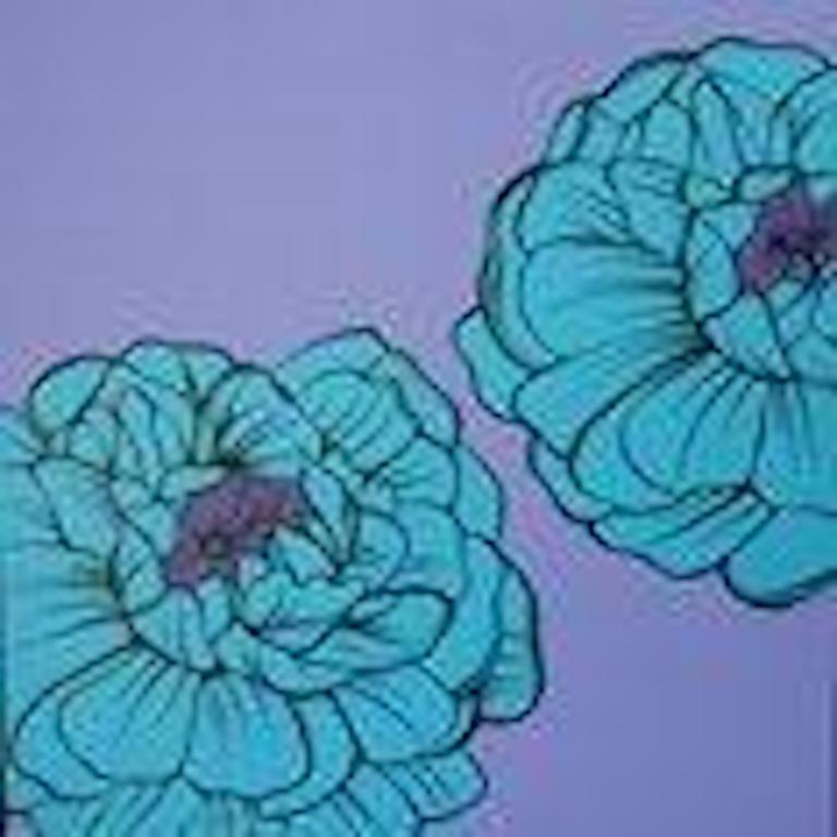 Deborah Azzopardi, Warhol Flowers, Blue, Acrylic on Board, Pop Art Blue Flower - Painting by Deborah Azzopardi