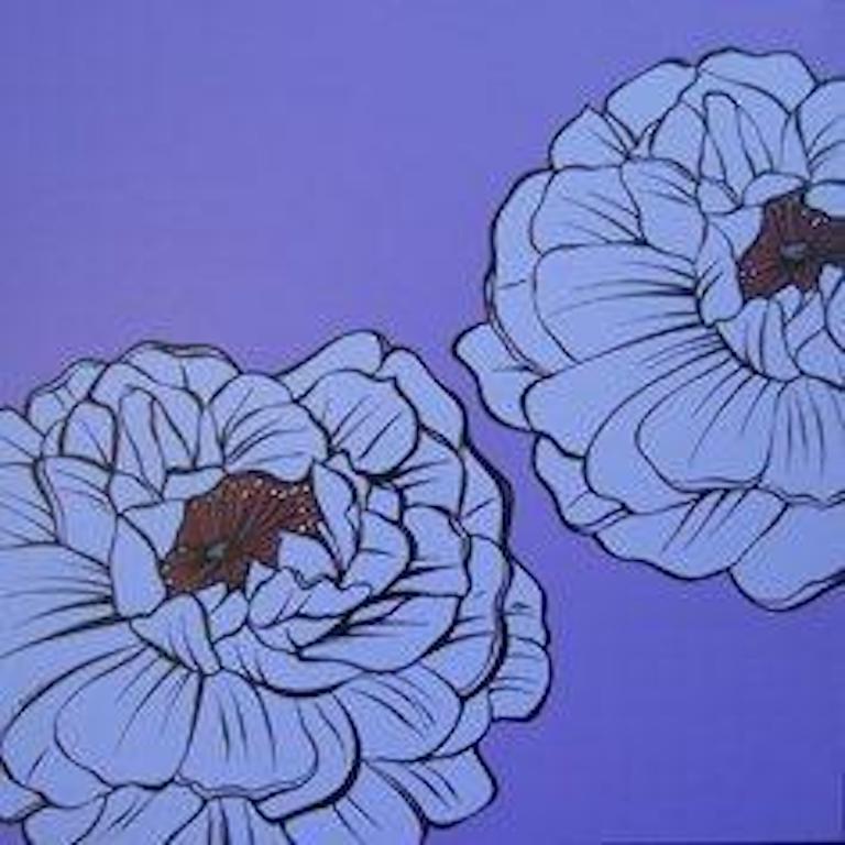 Deborah Azzopardi, Warhol Flowers, Purple, Acrylic on Board, Pop Art Flowers - Painting by Deborah Azzopardi