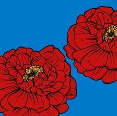 Deborah Azzopardi, Warhol Flowers, Red, Acrylic on Board, Pop Art Flowers