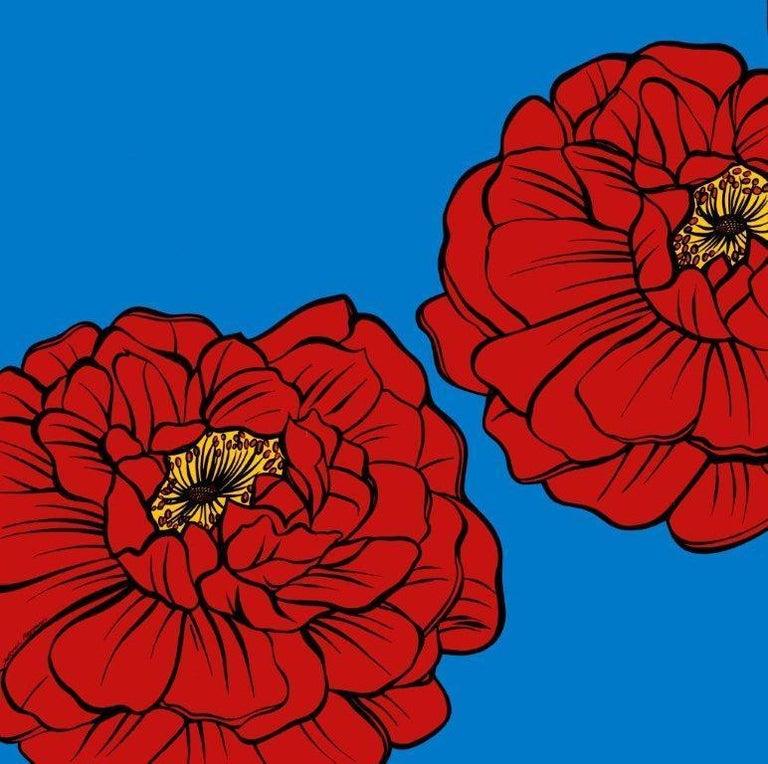 Deborah Azzopardi, Warhol Flowers, Red, Acrylic on Board, Pop Art Flowers - Painting by Deborah Azzopardi