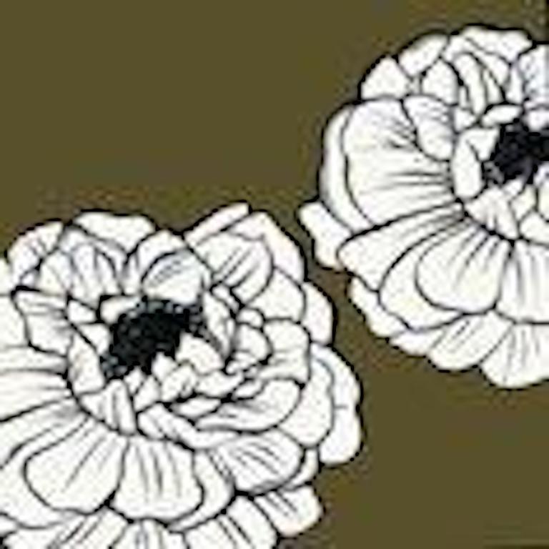 Deborah Azzopardi, Warhol Flowers, White, Acrylic on Board, Pop Art Flowers - Painting by Deborah Azzopardi