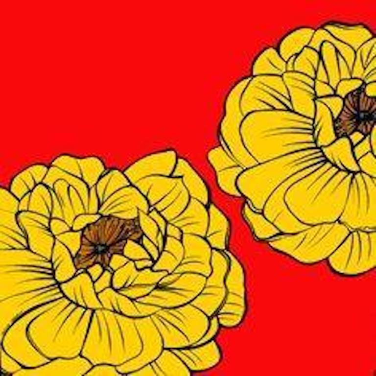 Deborah Azzopardi, Warhol Flowers, Yellow, Acrylic on Board, Pop Art - Painting by Deborah Azzopardi