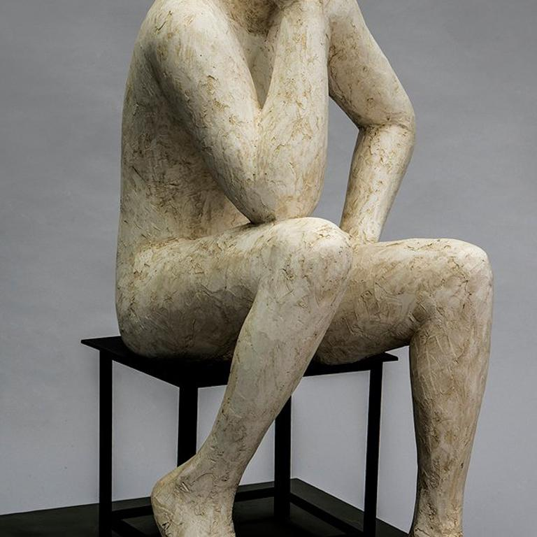 Think II - Gray Figurative Sculpture by Deborah Ballard
