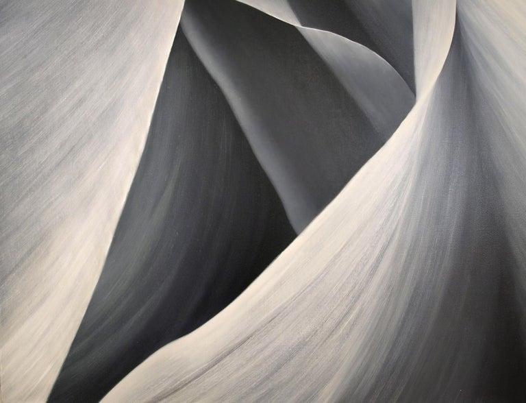 Grey Petals Untitled 29 40 X 40 - Aesthetic Movement Painting by Deborah Bigeleisen