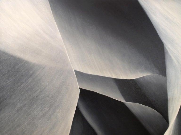 Grey Petals Untitled 29 40 X 40 - Gray Abstract Painting by Deborah Bigeleisen