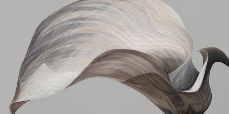 Grey and Beige Natural Bird-Untitled 35   35 X 70 - Painting by Deborah Bigeleisen