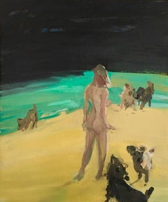 """Beach Games"" Neo-expressionist oil on canvas, nude woman and dog"