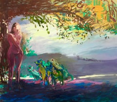 """Diana and Actaeon 3"" Pastel palette, a nude woman and her dogs in a forest."