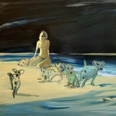 Incognito 2 - Nude female with dogs by the water, oil on canvas